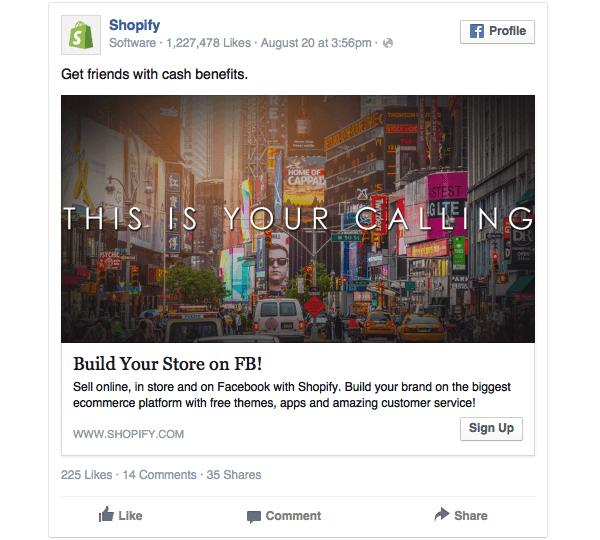 Primo esempio di Banner Facebook utilizzato dai Shopify