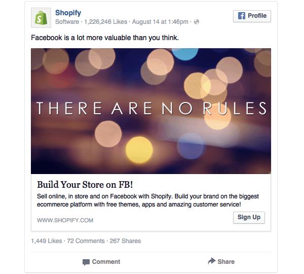 Secondo esempio di Banner Facebook utilizzato dai Shopify