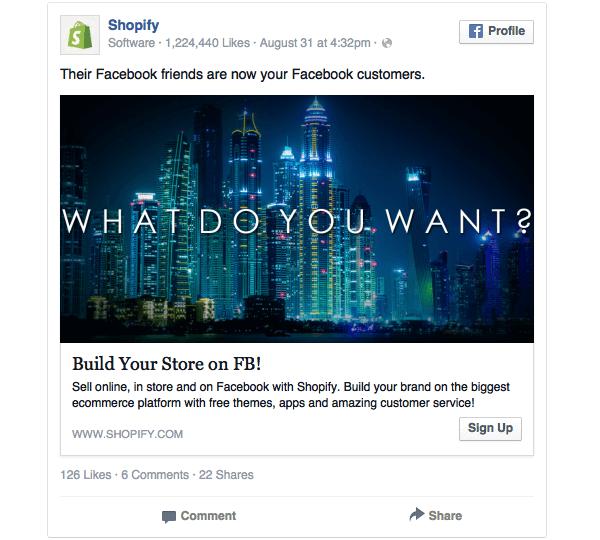 Terzo esempio di Banner Facebook utilizzato dai Shopify