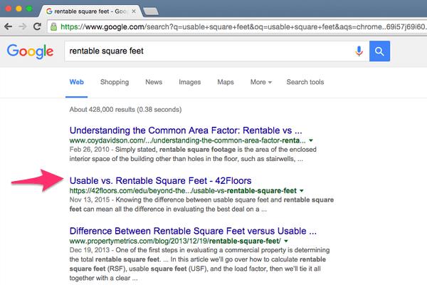 Il contenuto di 42Floors posizionato su Google