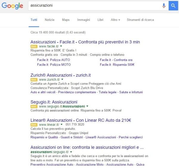 Banner nelle SERP di Google