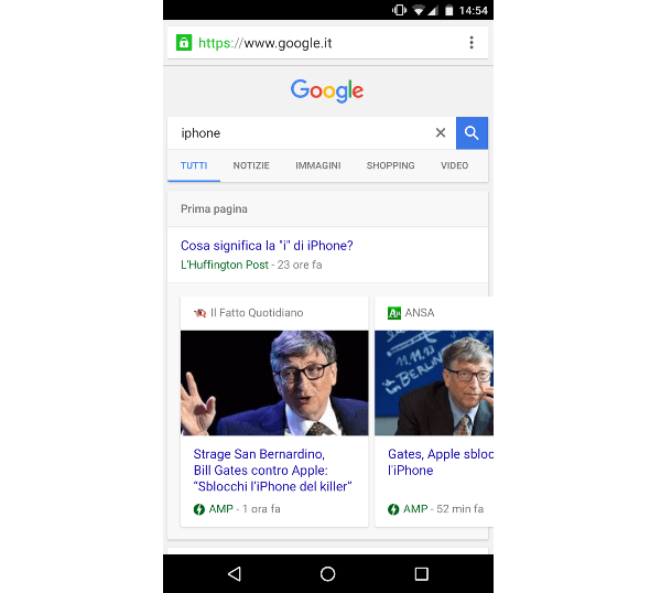 Il carosello di Google AMP
