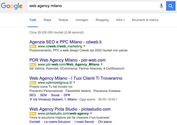 Annunci pubblicitari nella SERP di Google