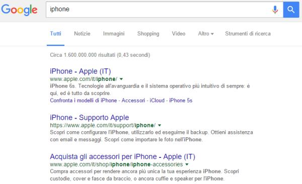 Query effettuata via desktop su Google