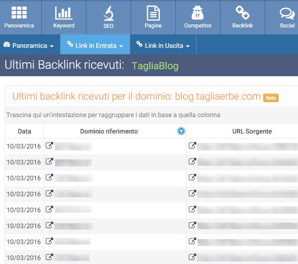 La funzione Ultimi Backlink ricevuti di SEOZoom
