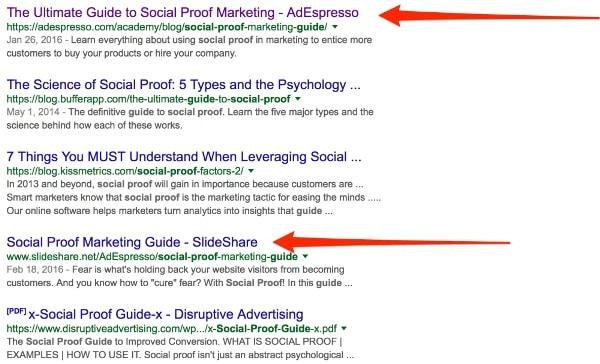 La guida di AdEspresso posizionata 2 volte su Google