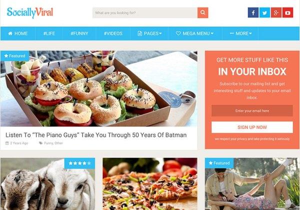 SociallyViral, il tema WordPress utilizzato su ViralNova