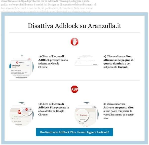 Aranzulla.it blocca gli AdBlock