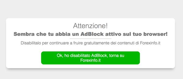 Il blocco screen di BlockAdblock in azione