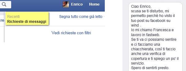 Richieste di messaggi via Facebook