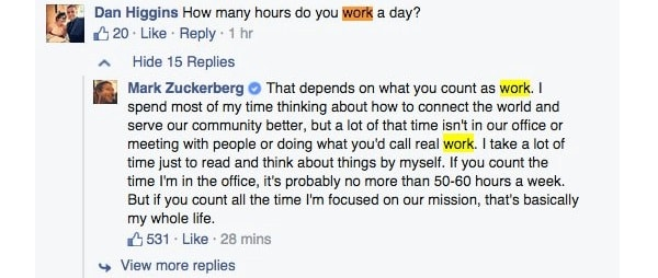 Ore lavorative di Mark Zuckerberg