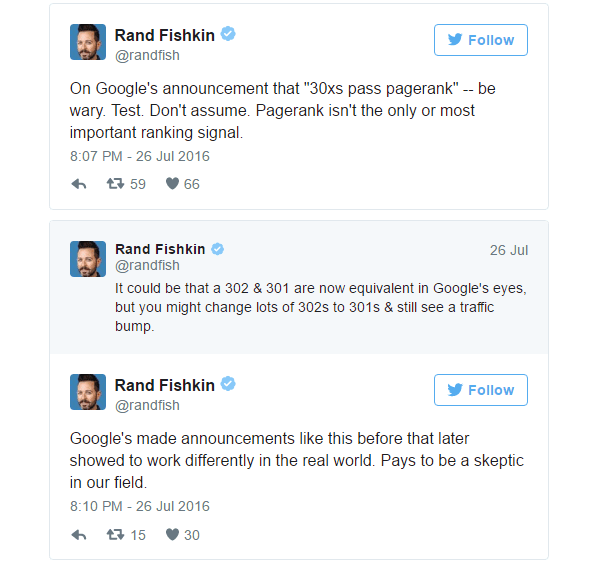 I tweet di Rand Fishkin sui redirect 30x