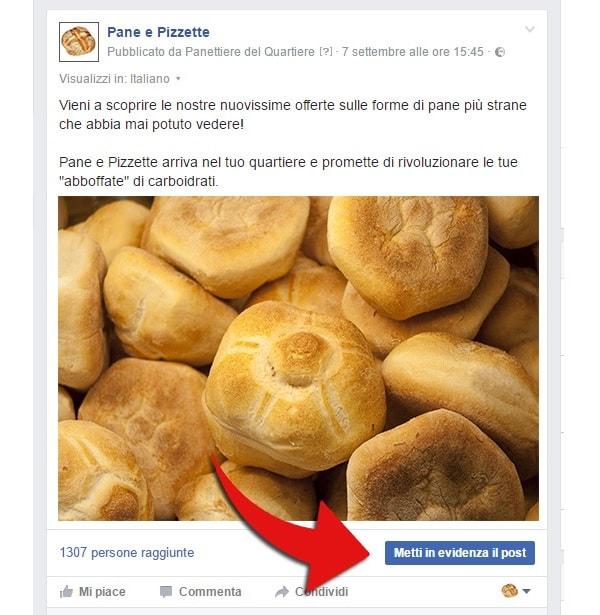 La pubblicità di un panettiere su Facebook