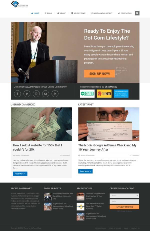 L'home page del blog di ShoeMoney