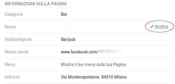 Le informazioni di una Pagina Facebook