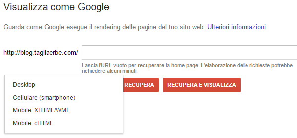 Visualizza come Google in Search Console
