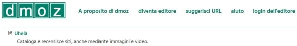 La web directory Uhelà su DMOZ