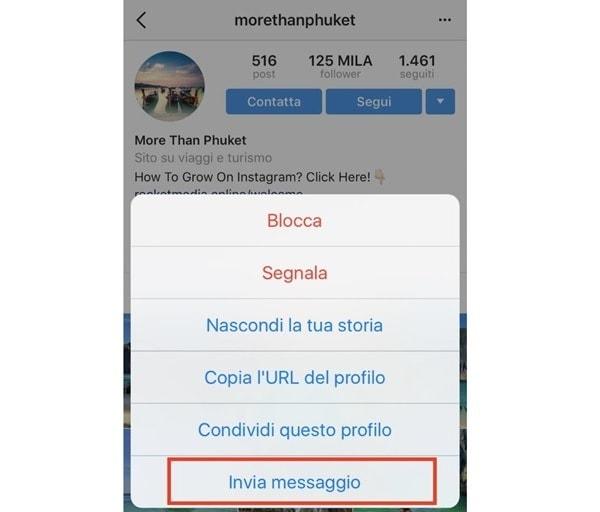Invia messaggio su Instagram