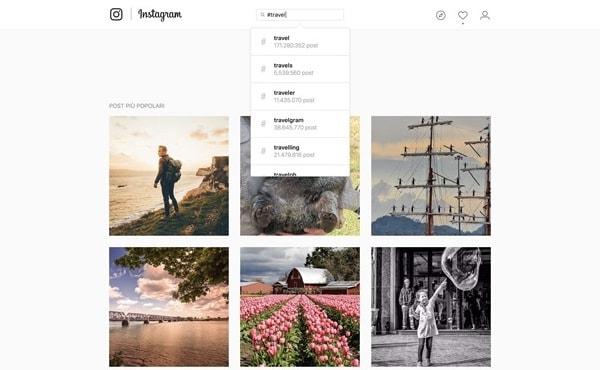 Ricerca dei profili su Instagram