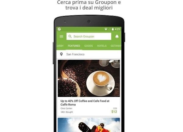 La versione mobile di Groupon