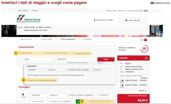 Popup sul sito di Trenitalia