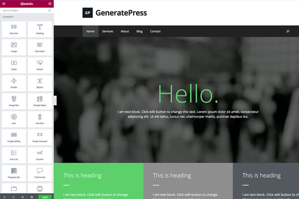 GeneratePress + Elementor