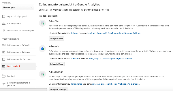 Prodotti Google Analytics