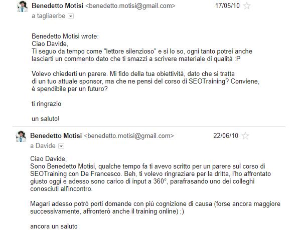 Le 2 email di Benedetto Motisi