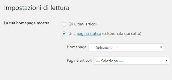 Homepage statica WordPress