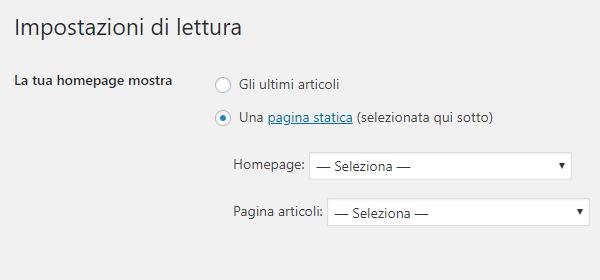 Homepage statica WordPress