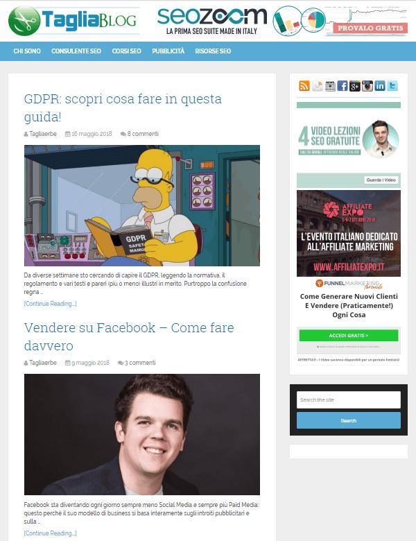 Vecchia homepage del TagliaBlog