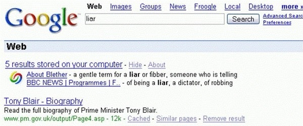 Google Bombing Blair Liar