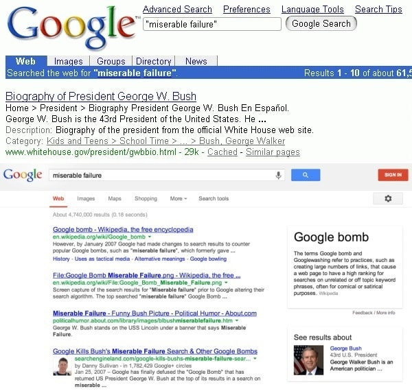 Google Bombing Miserable Failure
