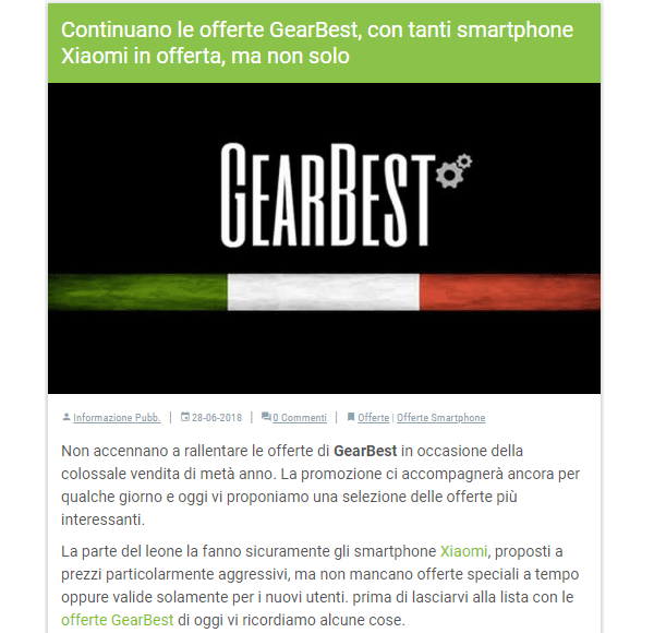 Post di TuttoAndroid con link interno