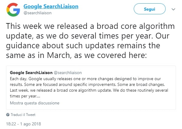 Google Core Update Agosto 2018