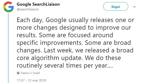 Google Core Update Marzo 2018