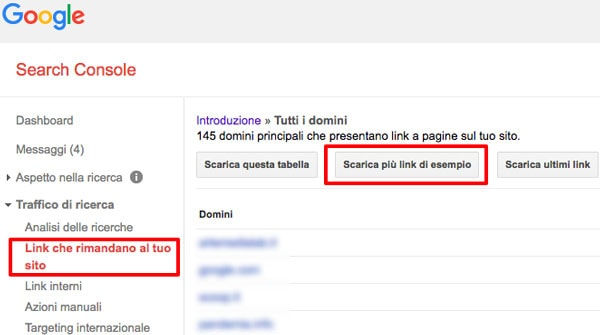 Google Search Console - Link che rimandano al tuo sito