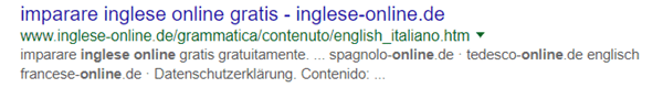 Query corso inglese online