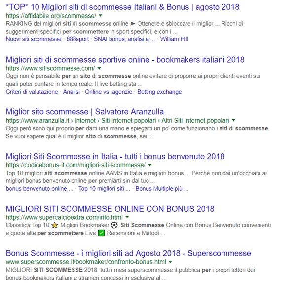 Query siti di scommesse, risultati in prima pagina