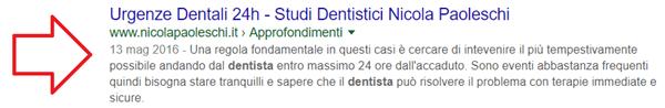 Query urgenze dentali, Novembre 2017