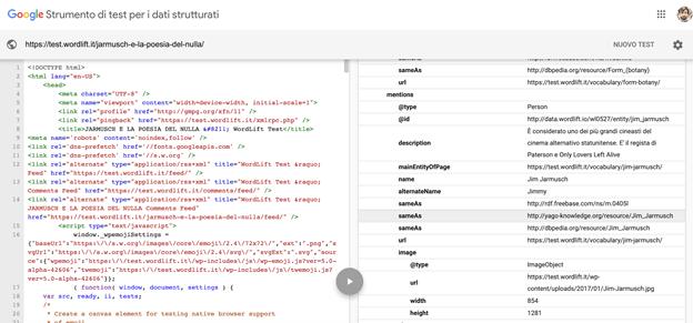 Strumento di test per i dati strutturati di Google